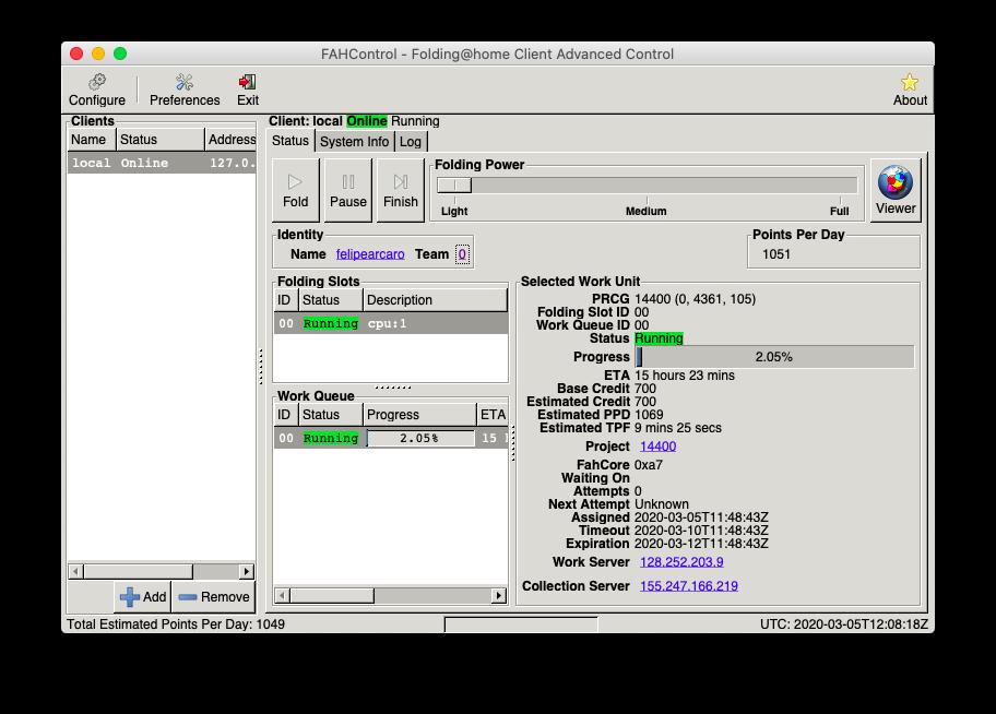 Folding@home versão desktop